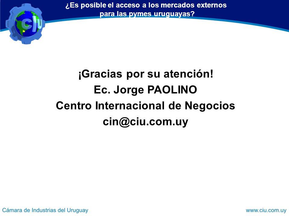 ¡Gracias por su atención! Ec. Jorge PAOLINO Centro Internacional de Negocios cin@ciu.com.uy ¿Es posible el acceso a los mercados externos para las pym