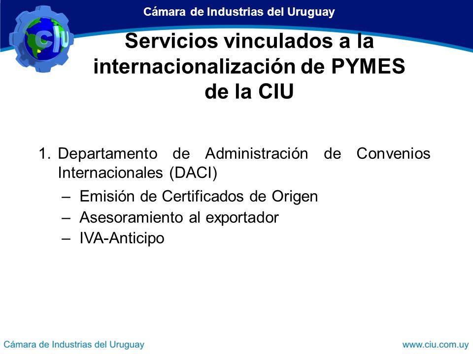 Cámara de Industrias del Uruguay Dirección de Desarrollo Empresarial Dirección de Operaciones de Comercio Exterior Servicios de la CIU vinculados a la internacionalización Departamento de Administración de Convenios Internacionales (DACI) Unidad de Apoyo al Comercio Exterior Centro Internacional de Negocios (CIN) Servicios vinculados a la internacionalización de PYMES de la CIU
