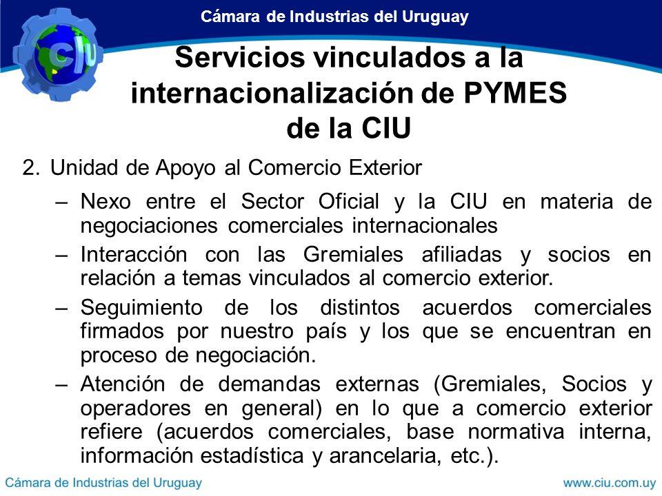 Dirección de Desarrollo Empresarial Dirección de Operaciones de Comercio Exterior Servicios de la CIU vinculados a la internacionalización Departamento de Administración de Convenios Internacionales (DACI) Unidad de Apoyo al Comercio Exterior Centro Internacional de Negocios (CIN) Servicios vinculados a la internacionalización de PYMES de la CIU