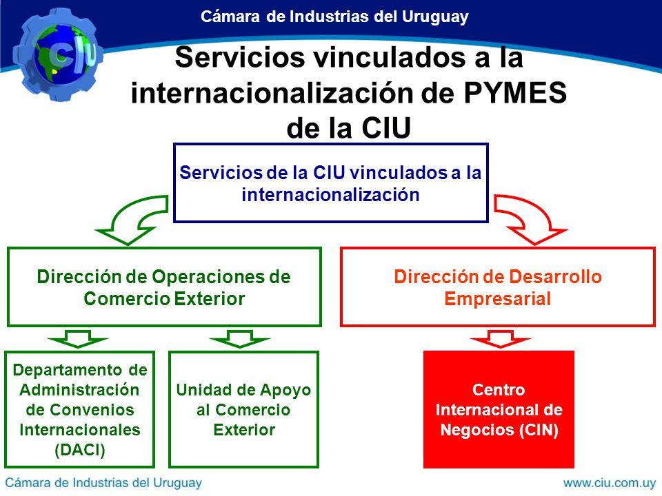 Departamentos y Servicios vinculados a la internacionalización de PYMES 3.Centro Internacional de Negocios (CIN) Objetivo: Promover, orientar y facilitar la inserción internacional de las empresas uruguayas – Asesoramiento – Promoción Comercial – Información e Investigación Cámara de Industrias del Uruguay