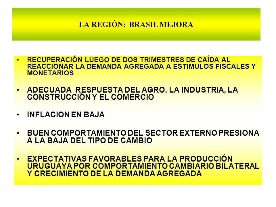 LA REGIÓN: BRASIL MEJORA RECUPERACIÓN LUEGO DE DOS TRIMESTRES DE CAÍDA AL REACCIONAR LA DEMANDA AGREGADA A ESTIMULOS FISCALES Y MONETARIOS ADECUADA RESPUESTA DEL AGRO, LA INDUSTRIA, LA CONSTRUCCIÓN Y EL COMERCIO INFLACION EN BAJA BUEN COMPORTAMIENTO DEL SECTOR EXTERNO PRESIONA A LA BAJA DEL TIPO DE CAMBIO EXPECTATIVAS FAVORABLES PARA LA PRODUCCIÓN URUGUAYA POR COMPORTAMIENTO CAMBIARIO BILATERAL Y CRECIMIENTO DE LA DEMANDA AGREGADA