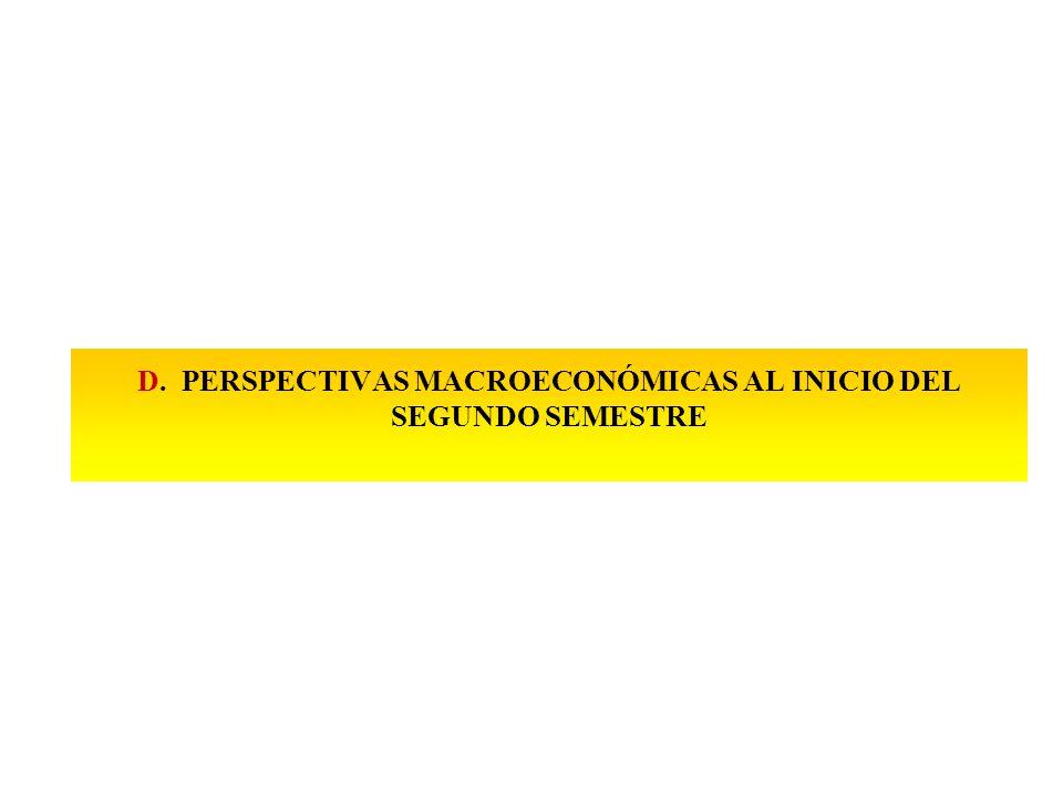 D. PERSPECTIVAS MACROECONÓMICAS AL INICIO DEL SEGUNDO SEMESTRE
