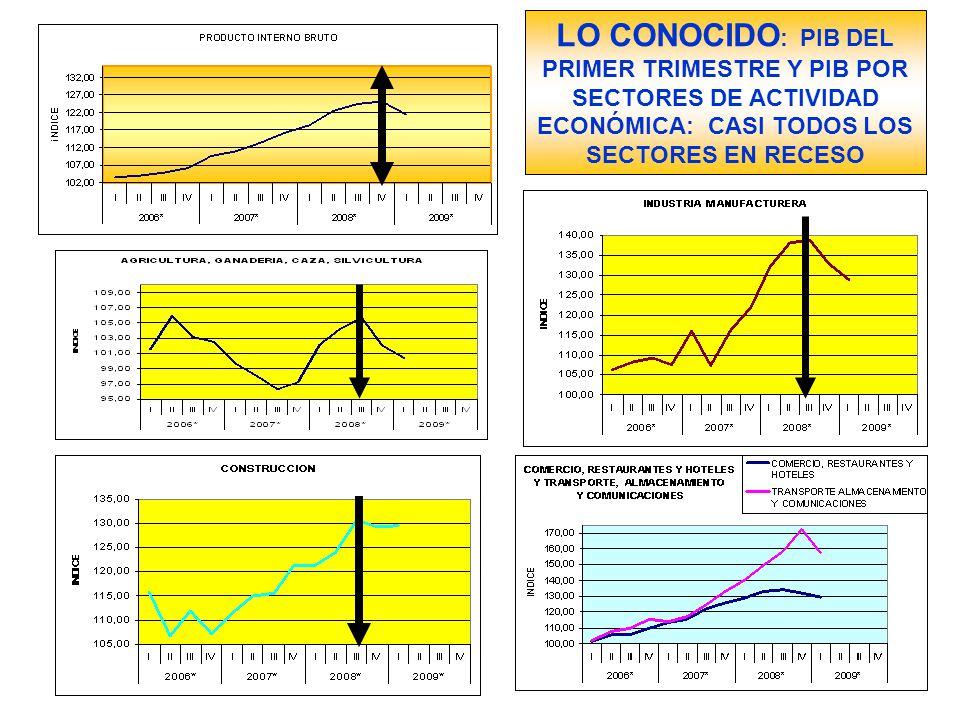 LO CONOCIDO : PIB DEL PRIMER TRIMESTRE Y PIB POR SECTORES DE ACTIVIDAD ECONÓMICA: CASI TODOS LOS SECTORES EN RECESO
