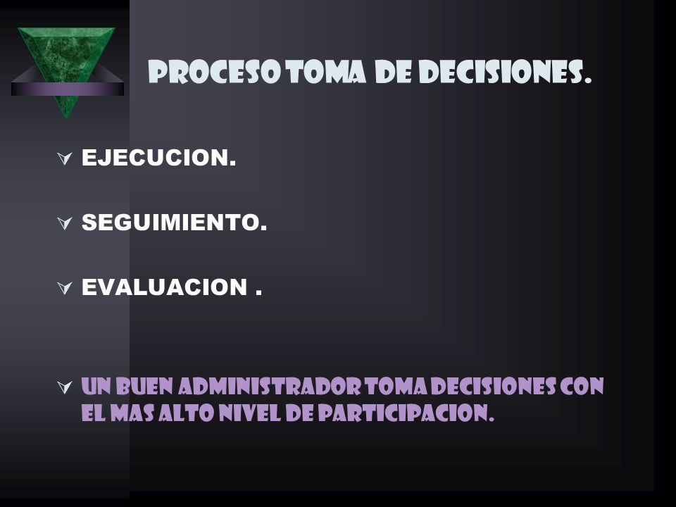 PROCESO TOMA DE DECISIONES.EJECUCION. SEGUIMIENTO.