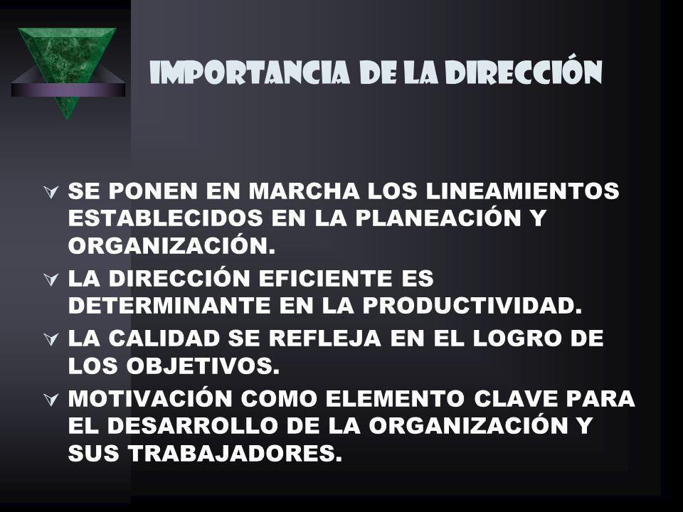 IMPORTANCIA DE LA DIRECCIÓN SE PONEN EN MARCHA LOS LINEAMIENTOS ESTABLECIDOS EN LA PLANEACIÓN Y ORGANIZACIÓN.