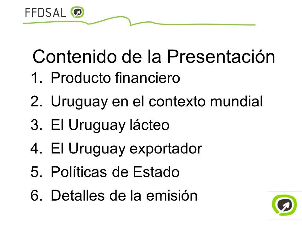 Contenido de la Presentación 1.Producto financiero 2.Uruguay en el contexto mundial 3.El Uruguay lácteo 4.El Uruguay exportador 5.Políticas de Estado
