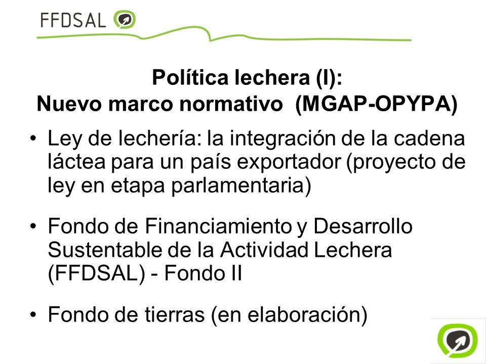Política lechera (I): Nuevo marco normativo (MGAP-OPYPA) Ley de lechería: la integración de la cadena láctea para un país exportador (proyecto de ley