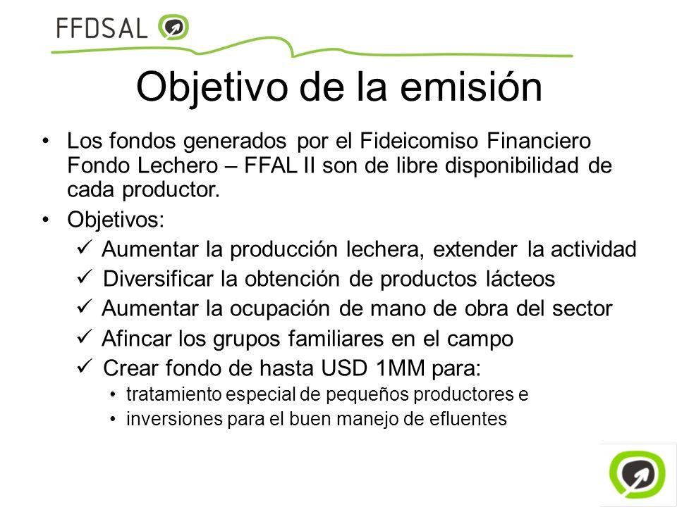 Objetivo de la emisión Los fondos generados por el Fideicomiso Financiero Fondo Lechero – FFAL II son de libre disponibilidad de cada productor. Objet