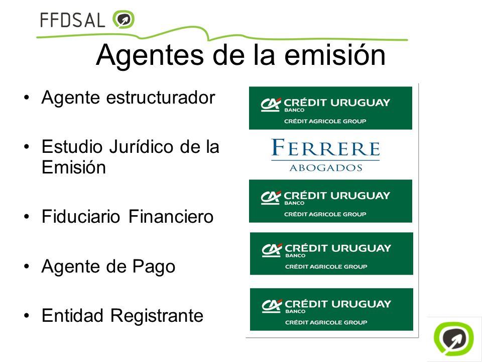 Agentes de la emisión Agente estructurador Estudio Jurídico de la Emisión Fiduciario Financiero Agente de Pago Entidad Registrante