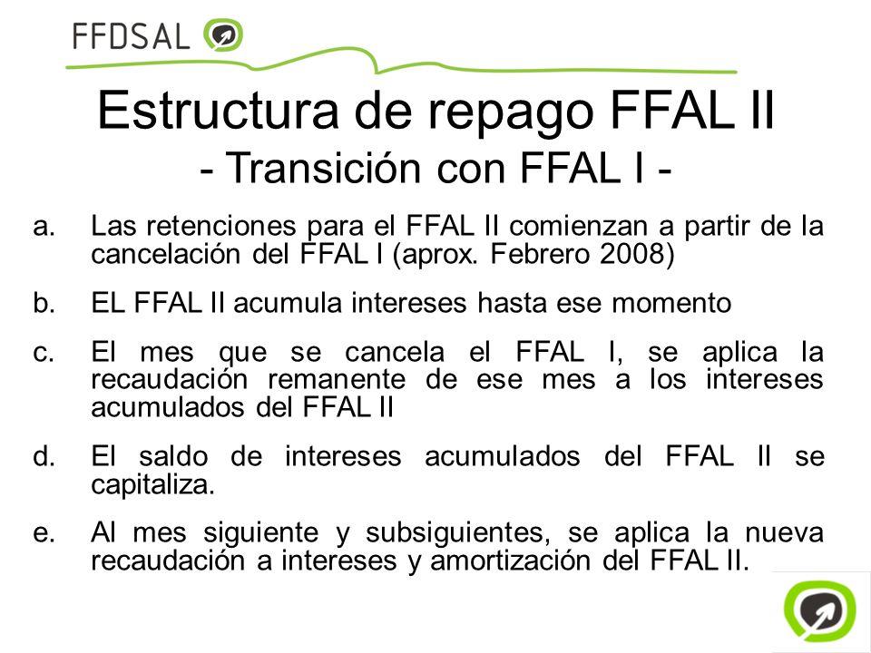 Estructura de repago FFAL II - Transición con FFAL I - a.Las retenciones para el FFAL II comienzan a partir de la cancelación del FFAL I (aprox. Febre