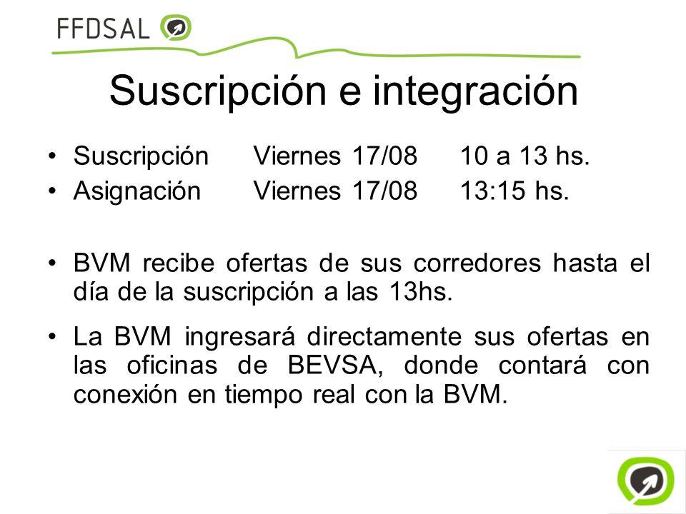 Suscripción e integración SuscripciónViernes 17/08 10 a 13 hs. AsignaciónViernes 17/08 13:15 hs. BVM recibe ofertas de sus corredores hasta el día de