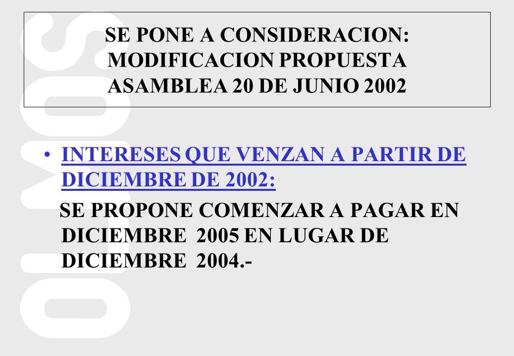 INTERESES QUE VENZAN A PARTIR DE DICIEMBRE DE 2002: SE PROPONE COMENZAR A PAGAR EN DICIEMBRE 2005 EN LUGAR DE DICIEMBRE 2004.- SE PONE A CONSIDERACION: MODIFICACION PROPUESTA ASAMBLEA 20 DE JUNIO 2002