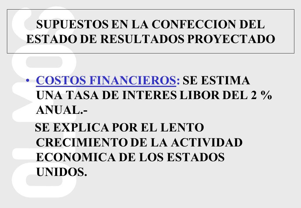 COSTOS FINANCIEROS: SE ESTIMA UNA TASA DE INTERES LIBOR DEL 2 % ANUAL.- SE EXPLICA POR EL LENTO CRECIMIENTO DE LA ACTIVIDAD ECONOMICA DE LOS ESTADOS UNIDOS.