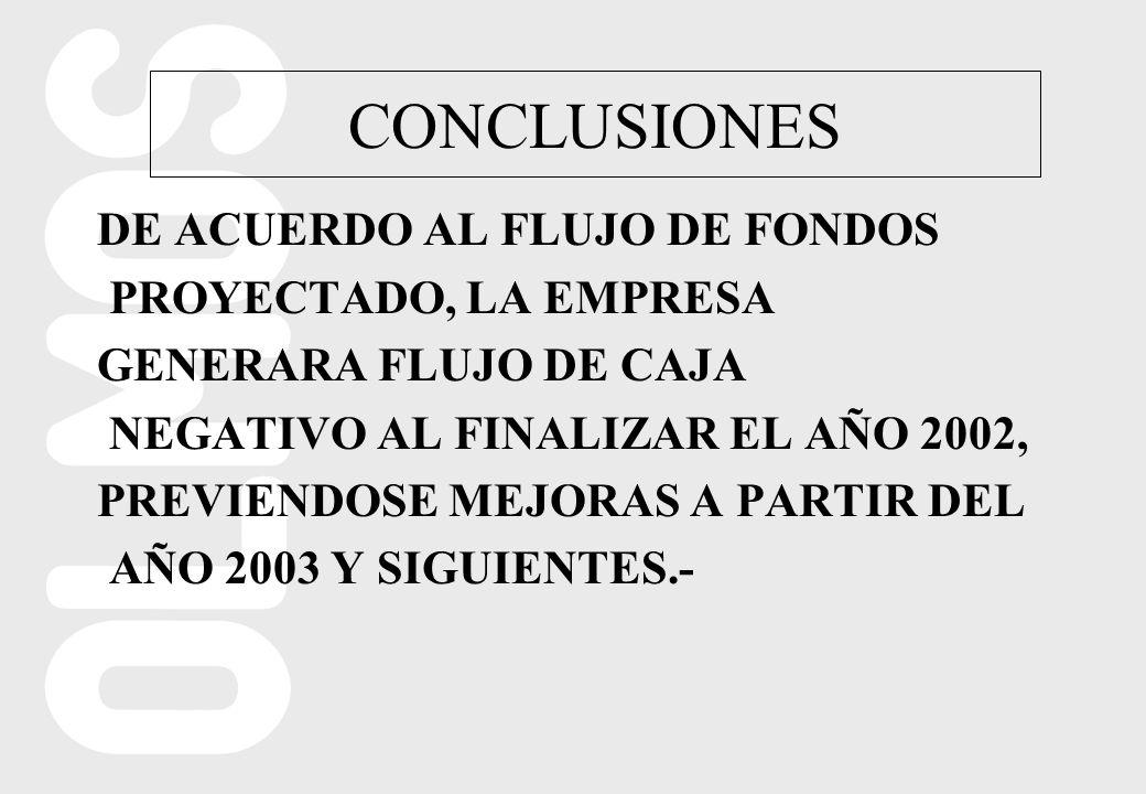 CONCLUSIONES DE ACUERDO AL FLUJO DE FONDOS PROYECTADO, LA EMPRESA GENERARA FLUJO DE CAJA NEGATIVO AL FINALIZAR EL AÑO 2002, PREVIENDOSE MEJORAS A PARTIR DEL AÑO 2003 Y SIGUIENTES.-