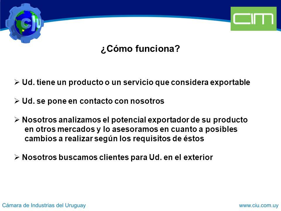 ¿Cómo funciona. Ud. tiene un producto o un servicio que considera exportable Ud.