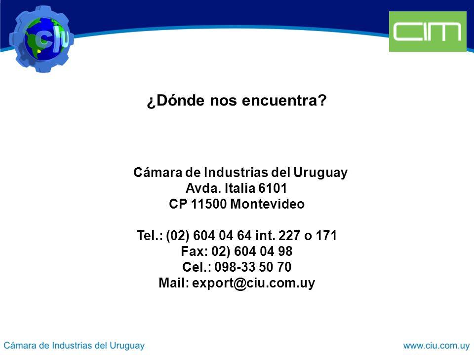 ¿Dónde nos encuentra. Cámara de Industrias del Uruguay Avda.