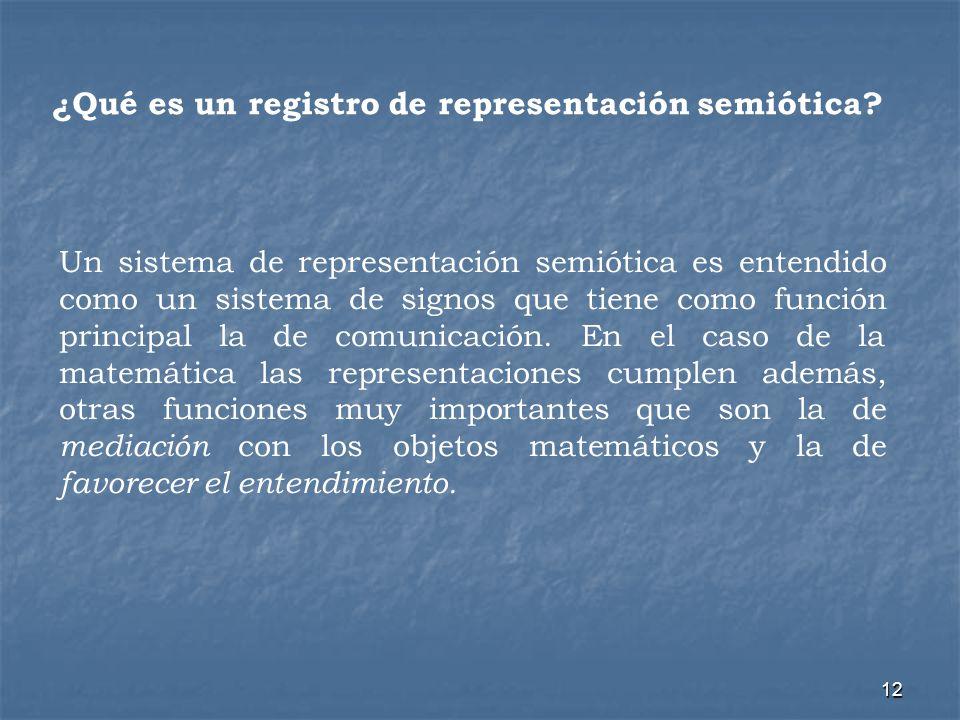 12 ¿Qué es un registro de representación semiótica? Un sistema de representación semiótica es entendido como un sistema de signos que tiene como funci