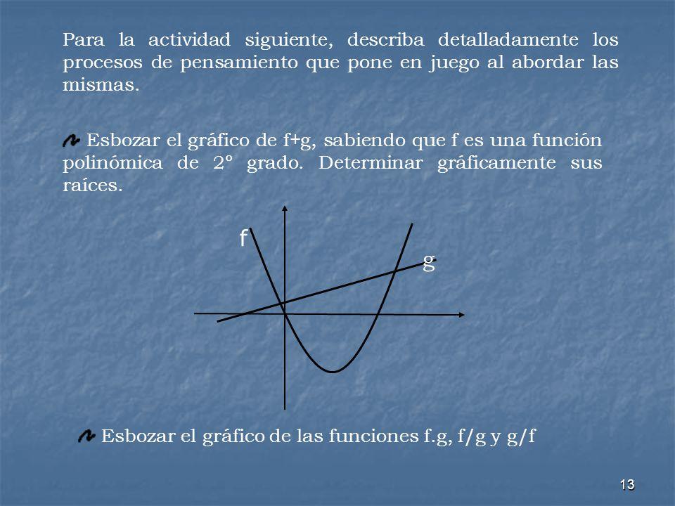 13 g f Esbozar el gráfico de f+g, sabiendo que f es una función polinómica de 2º grado. Determinar gráficamente sus raíces. Esbozar el gráfico de las
