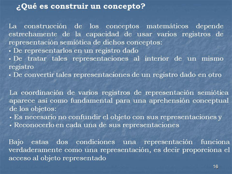 16 ¿Qué es construir un concepto? La construcción de los conceptos matemáticos depende estrechamente de la capacidad de usar varios registros de repre