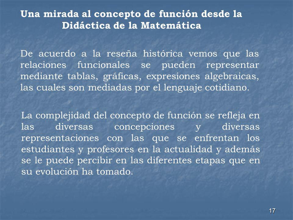 17 La complejidad del concepto de función se refleja en las diversas concepciones y diversas representaciones con las que se enfrentan los estudiantes