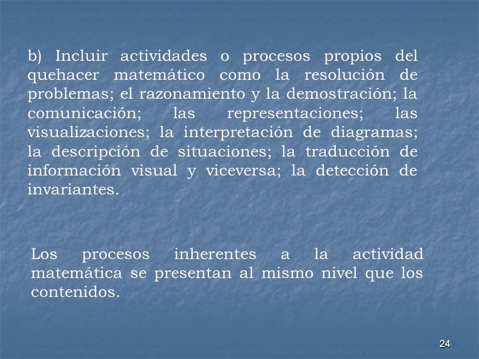 24 b) Incluir actividades o procesos propios del quehacer matemático como la resolución de problemas; el razonamiento y la demostración; la comunicaci