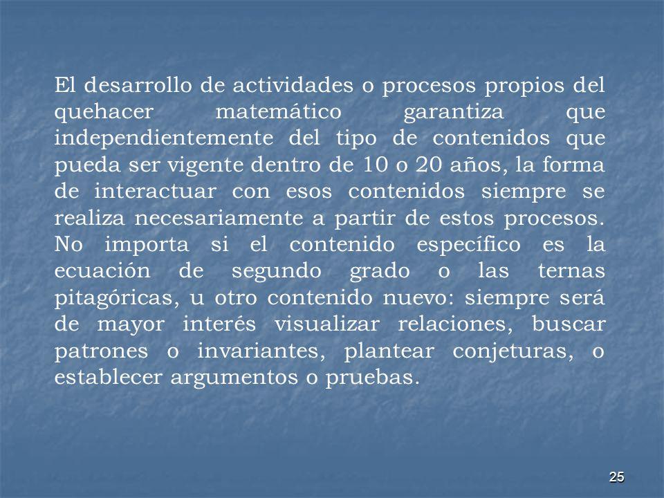 25 El desarrollo de actividades o procesos propios del quehacer matemático garantiza que independientemente del tipo de contenidos que pueda ser vigen