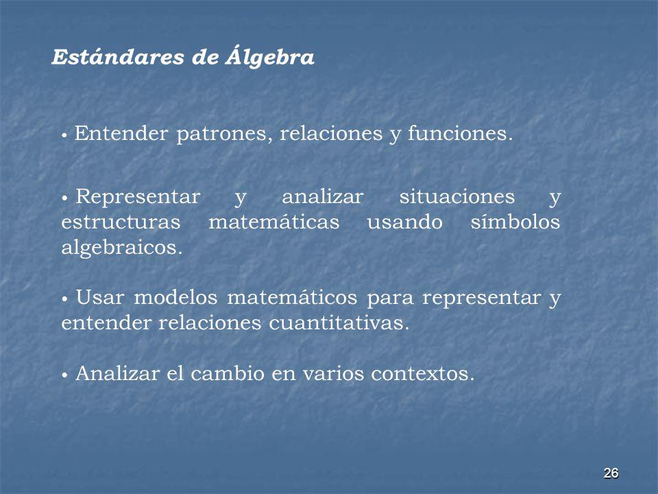 26 Estándares de Álgebra Entender patrones, relaciones y funciones. Representar y analizar situaciones y estructuras matemáticas usando símbolos algeb