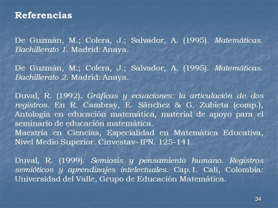 34 De Guzmán, M.; Colera, J.; Salvador, A. (1995). Matemáticas. Bachillerato 1. Madrid: Anaya. De Guzmán, M.; Colera, J.; Salvador, A. (1995). Matemát