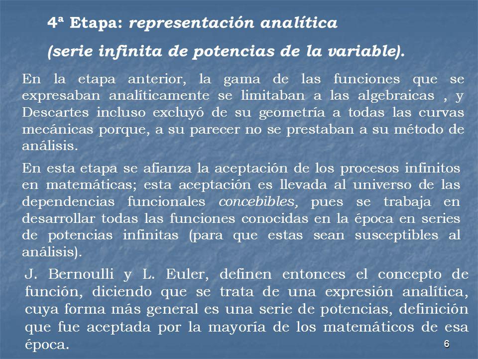7 5ª Etapa: Simbolización y definición general La definición de Dirichlet – Bourbaki: la relación entre pares de elementos de dos conjuntos A y B, tal que a cada elemento x A se le asigna un elemento y, y sólo uno, tal que y B, según alguna regla definida.