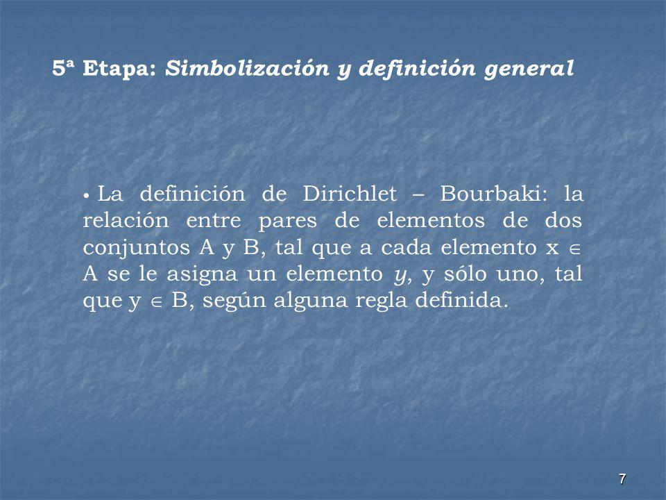 7 5ª Etapa: Simbolización y definición general La definición de Dirichlet – Bourbaki: la relación entre pares de elementos de dos conjuntos A y B, tal