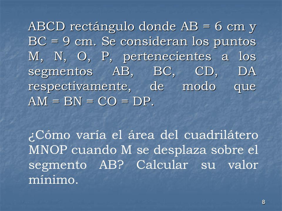 8 ABCD rectángulo donde AB = 6 cm y BC = 9 cm. Se consideran los puntos M, N, O, P, pertenecientes a los segmentos AB, BC, CD, DA respectivamente, de