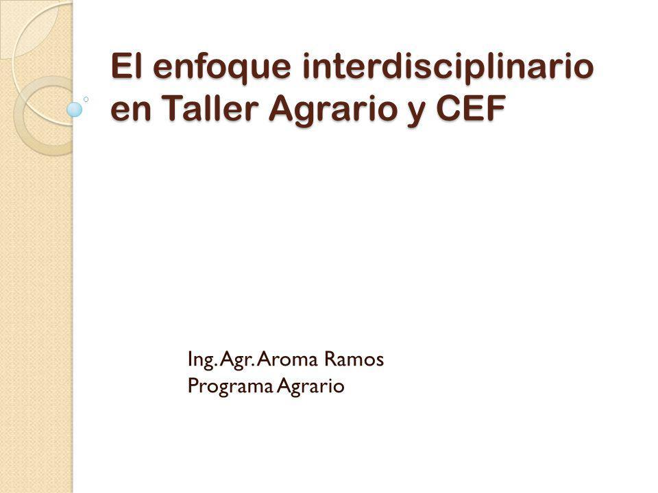 El enfoque interdisciplinario en Taller Agrario y CEF Ing. Agr. Aroma Ramos Programa Agrario