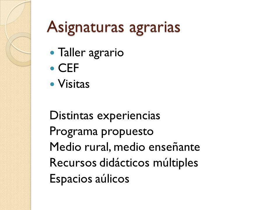 Asignaturas agrarias Taller agrario CEF Visitas Distintas experiencias Programa propuesto Medio rural, medio enseñante Recursos didácticos múltiples E