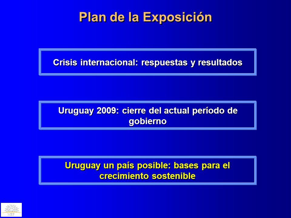 MEF Plan de la Exposición MEF Uruguay 2009: cierre del actual período de gobierno Crisis internacional: respuestas y resultados Uruguay un país posibl