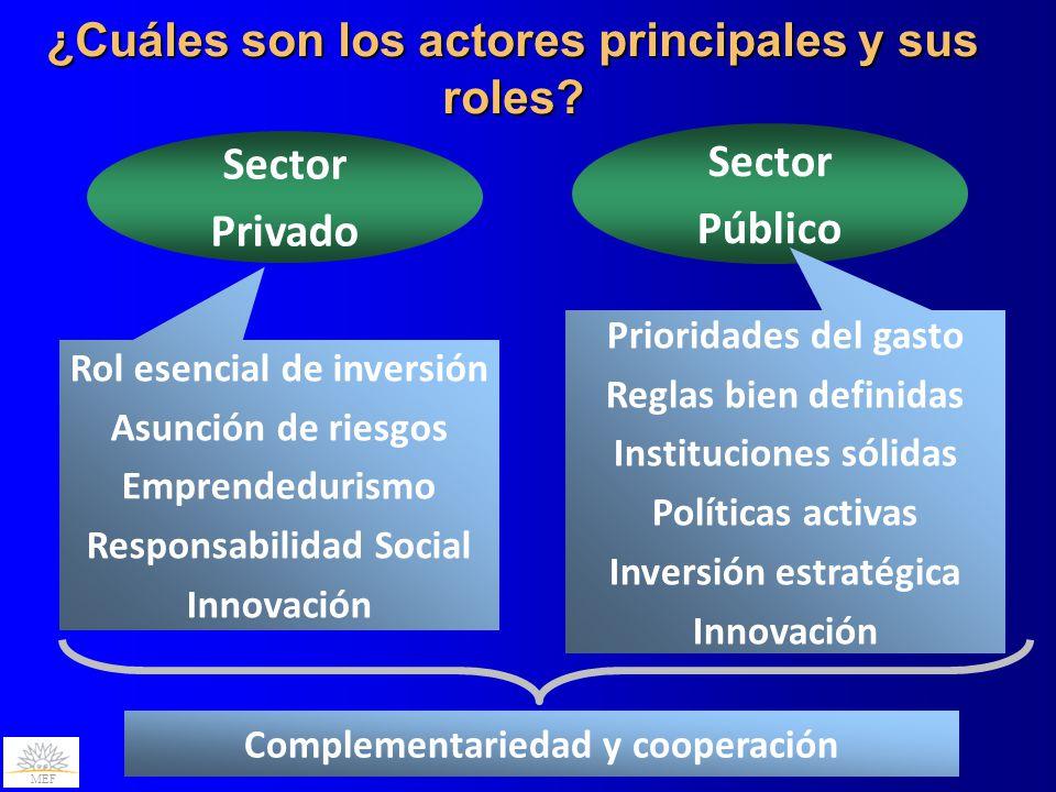 MEF ¿Cuáles son los actores principales y sus roles? Sector Privado Sector Público Rol esencial de inversión Asunción de riesgos Emprendedurismo Respo