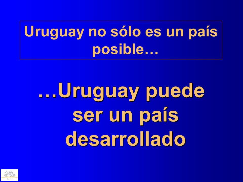 MEF …Uruguay puede ser un país desarrollado Uruguay no sólo es un país posible…