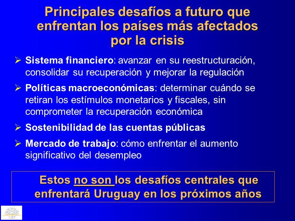 MEF Sistema financiero: avanzar en su reestructuración, consolidar su recuperación y mejorar la regulación Políticas macroeconómicas: determinar cuánd