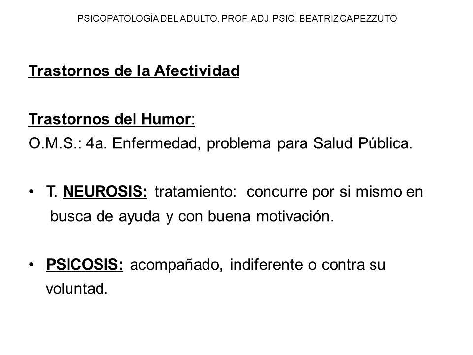 PSICOPATOLOGÍA DEL ADULTO. PROF. ADJ. PSIC. BEATRIZ CAPEZZUTO Trastornos de la Afectividad Trastornos del Humor: O.M.S.: 4a. Enfermedad, problema para