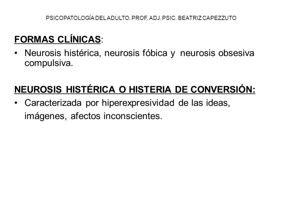 PSICOPATOLOGÍA DEL ADULTO. PROF. ADJ. PSIC. BEATRIZ CAPEZZUTO FORMAS CLÍNICAS: Neurosis histérica, neurosis fóbica y neurosis obsesiva compulsiva. NEU