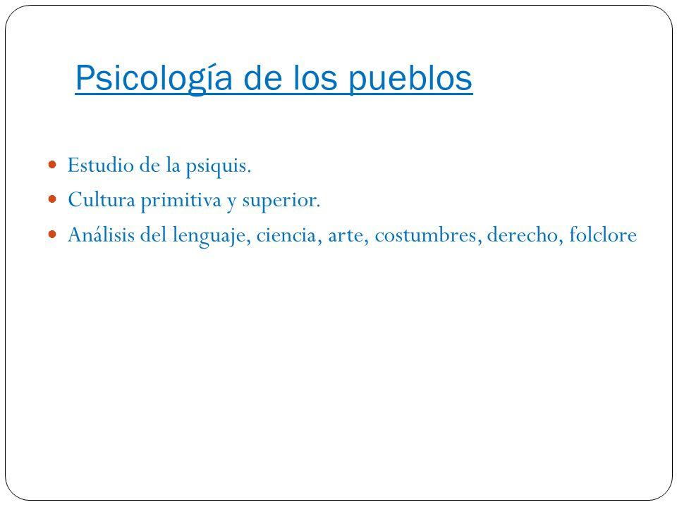 Psicología de los pueblos Estudio de la psiquis. Cultura primitiva y superior. Análisis del lenguaje, ciencia, arte, costumbres, derecho, folclore