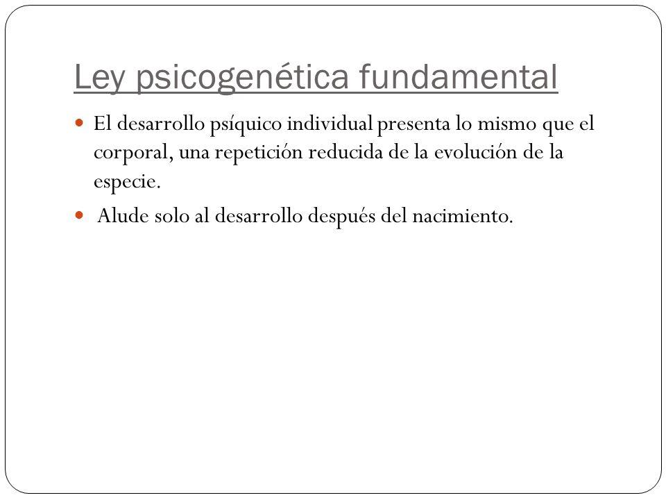 Ley psicogenética fundamental El desarrollo psíquico individual presenta lo mismo que el corporal, una repetición reducida de la evolución de la especie.