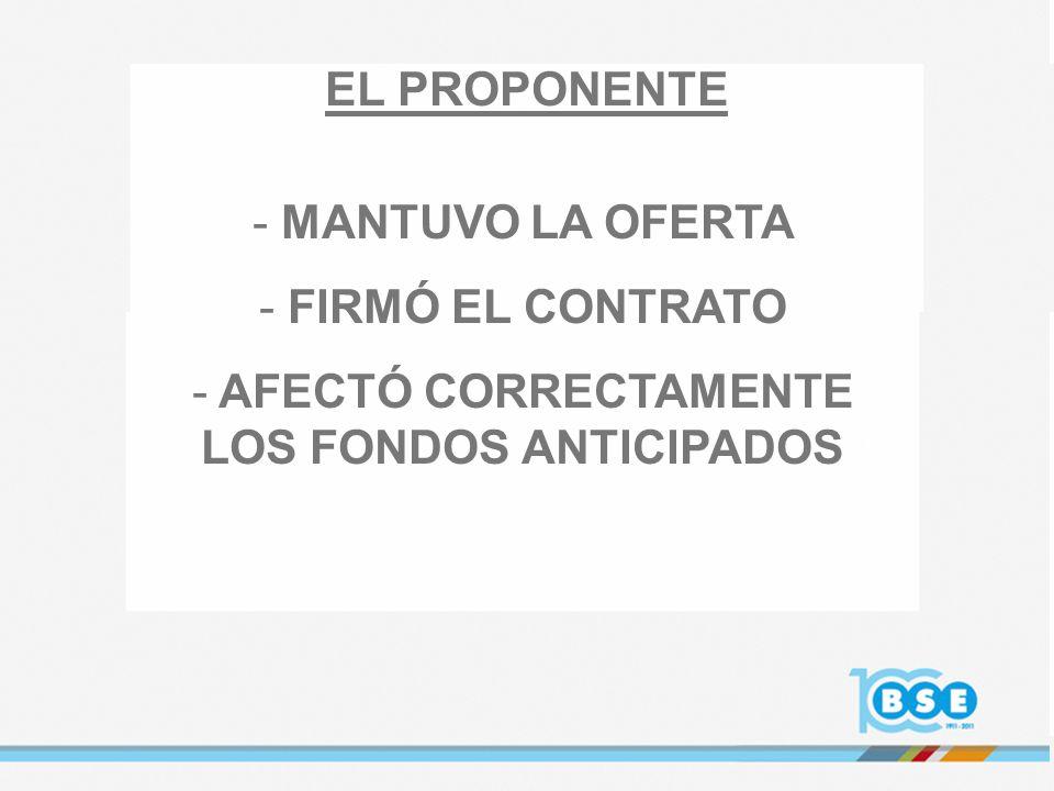 - MANTUVO LA OFERTA - FIRMÓ EL CONTRATO - AFECTÓ CORRECTAMENTE LOS FONDOS ANTICIPADOS EL PROPONENTE