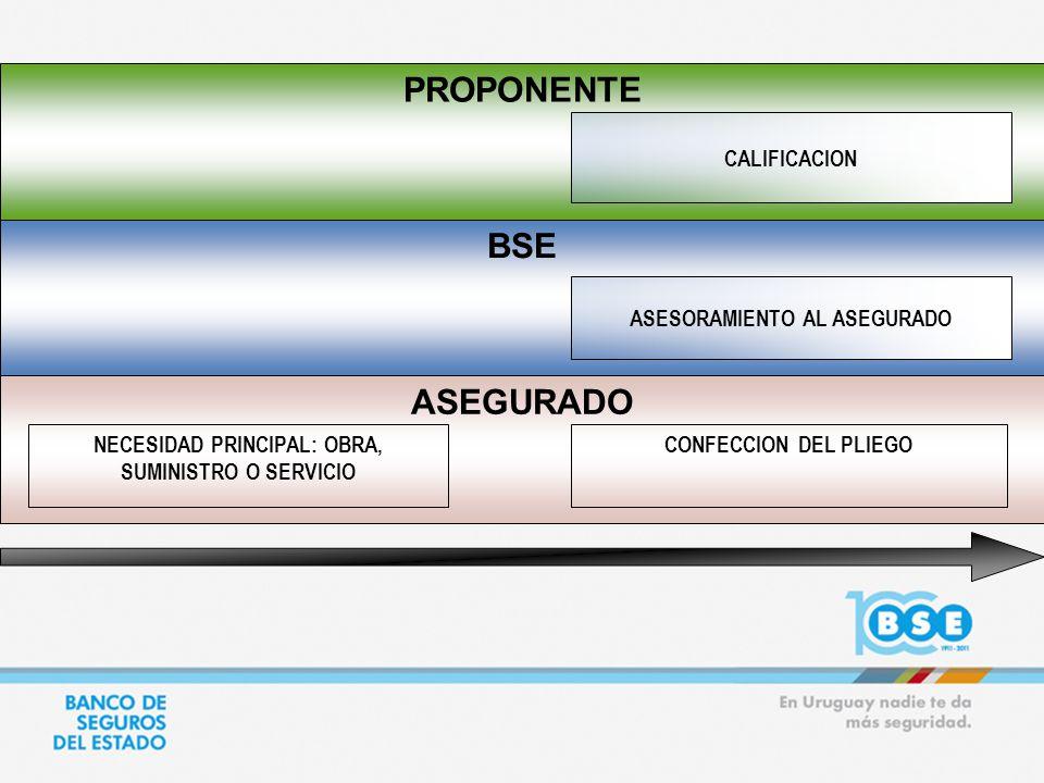 ASEGURADO BSE PROPONENTE ASESORAMIENTO AL ASEGURADO NECESIDAD PRINCIPAL: OBRA, SUMINISTRO O SERVICIO CONFECCION DEL PLIEGO CALIFICACION