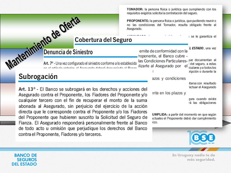PROPONENTE ASEGURADO BSE EMISION DE POLIZA: MANTENIMIENTO DE OFERTA APERTURA PRESENTACION DE LA OFERTA JUNTO CON LA POLIZA DE MANTENIMIENTO DE OFERTA FIRMA DEL CONTRATO E INICIO DE OPERACIONES EMISION DE OTRAS PÓLIZAS (PREVISTAS EN EL PLIEGO/CONTRATO) ADJUDICACION