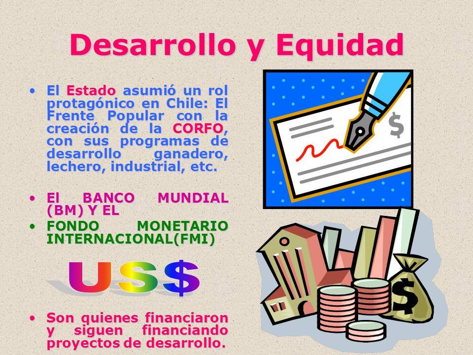 Desarrollo y Equidad El Estado asumió un rol protagónico en Chile: El Frente Popular con la creación de la CORFO, con sus programas de desarrollo gana