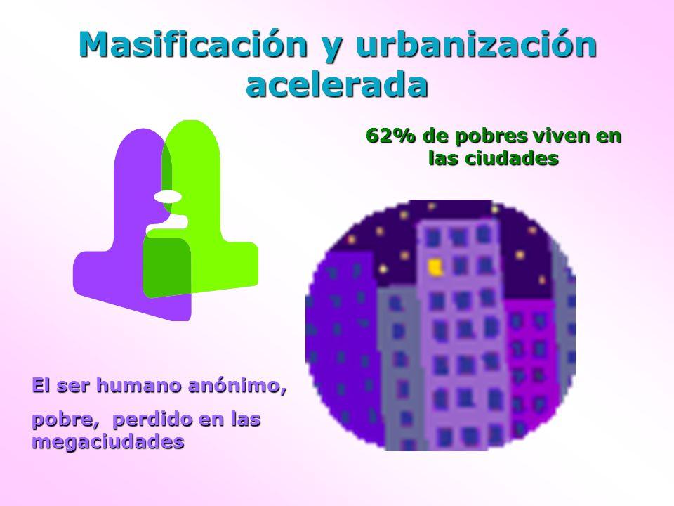 Masificación y urbanización acelerada El ser humano anónimo, pobre, perdido en las megaciudades 62% de pobres viven en las ciudades