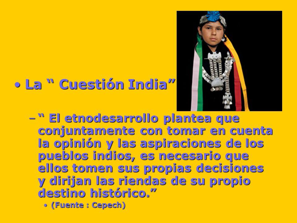 La Cuestión IndiaLa Cuestión India – El etnodesarrollo plantea que conjuntamente con tomar en cuenta la opinión y las aspiraciones de los pueblos indios, es necesario que ellos tomen sus propias decisiones y dirijan las riendas de su propio destino histórico.