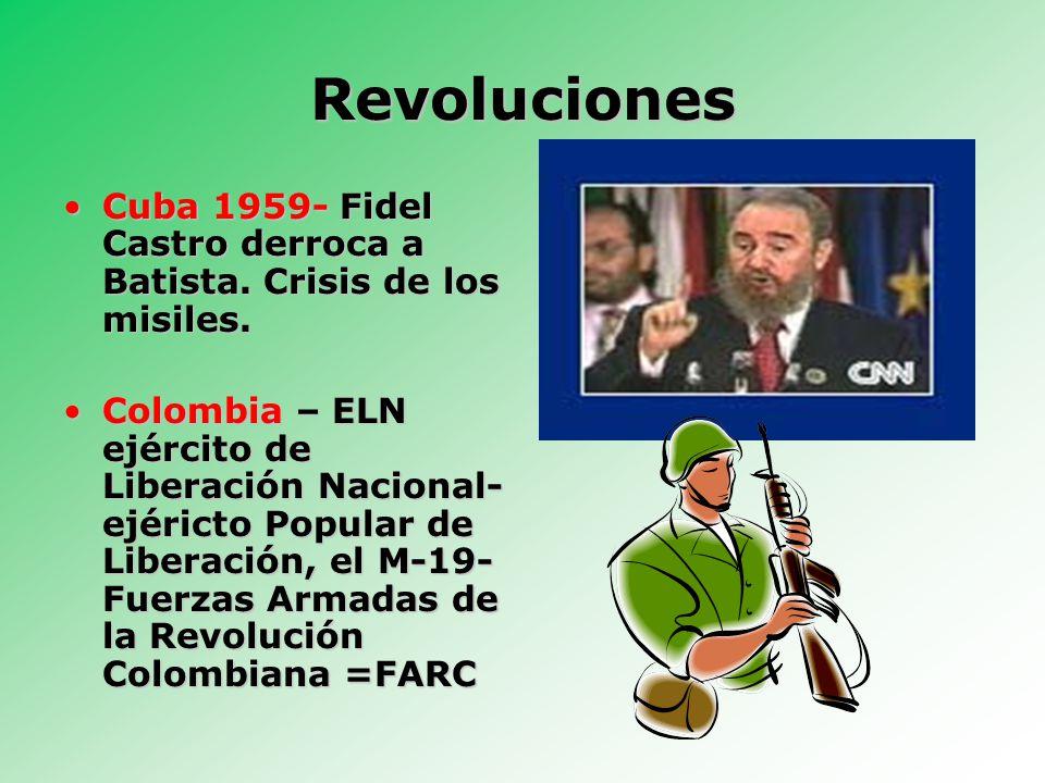 Revoluciones Cuba 1959- Fidel Castro derroca a Batista.