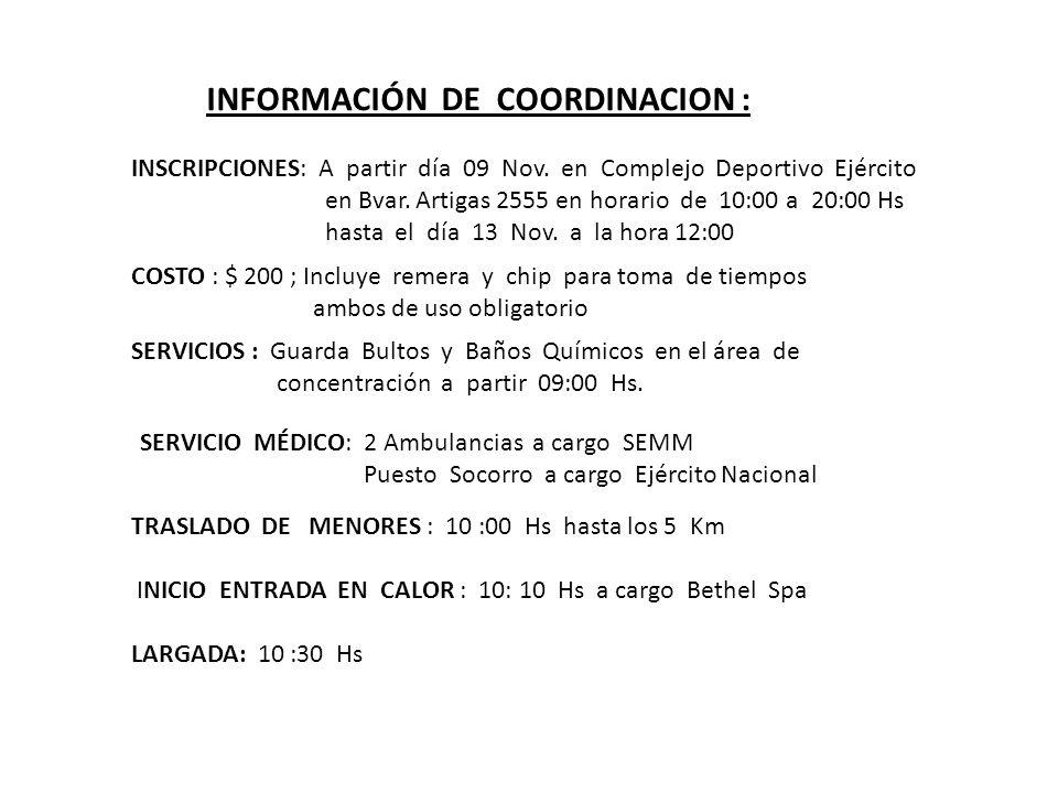 INFORMACIÓN DE COORDINACION : INSCRIPCIONES: A partir día 09 Nov. en Complejo Deportivo Ejército en Bvar. Artigas 2555 en horario de 10:00 a 20:00 Hs