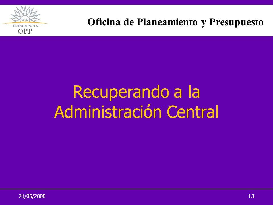 21/05/200813 Recuperando a la Administración Central Oficina de Planeamiento y Presupuesto